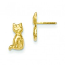 Cat Earrings in 14k Yellow Gold