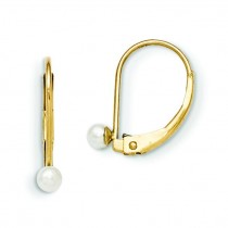 Leverback Cultured Pearl Earrings in 14k Yellow Gold