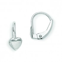 Leverback Heart Earrings in 14k White Gold