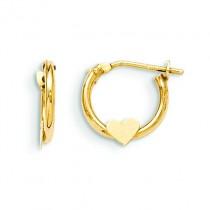 Heart Hoop Earrings in 14k Yellow Gold