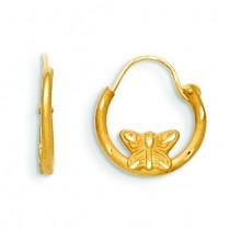 Wire Diamond Cut Butterfly Hoop Earrings in 14k Yellow Gold