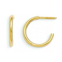 Hoop Screw back Earrings in 14k Yellow Gold