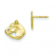 Horse Head Earrings in 14k Yellow Gold