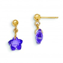 Flower Purple CZ Earrings in 14k Yellow Gold