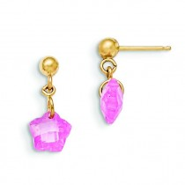 Flower Pink CZ Earrings in 14k Yellow Gold