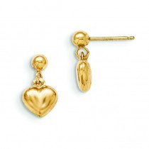 Puffed Heart Dangle Earrings in 14k Yellow Gold