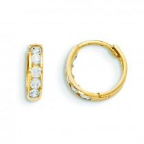 Hinged CZ Hoop Earrings in 14k Yellow Gold