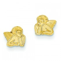 Polished Angel Post Earrings in 14k Yellow Gold