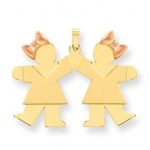 Double Girl Kids Pink Bow Charm in 14k Two-tone Gold
