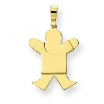 Solid Satin Engraveable Boy Jumping Charm in 14k Yellow Gold