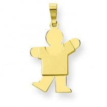 Solid Satin Engraveable Boy Charm in 14k Yellow Gold