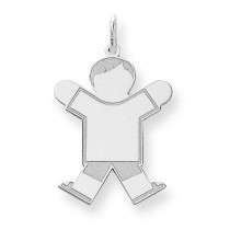 Diamond Cut Kid Charm in Sterling Silver