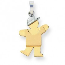 Diamond Cut Small Boy with Hat On Left Engraveable Charm in 14k Two-tone Gold