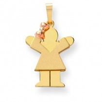 Diamond Cut Small Girl On Left Engraveable Charm in 14k Two-tone Gold
