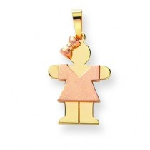Diamond Cut Small Girl with Bow On Left Engraveable Charm in 14k Two-tone Gold