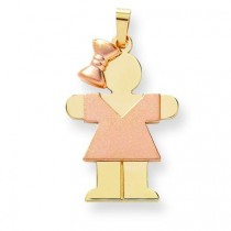 Diamond Cut Large Girl with Bow On Left Engraveable Charm in 14k Two-tone Gold