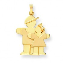 Big Boy Little Girl Engraveable Charm in 14k Yellow Gold