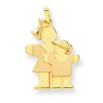 Big Girl Little Boy Engraveable Charm in 14k Yellow Gold