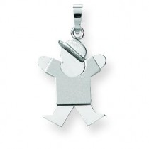 Small Boy with Hat On Right Engraveable Charm in 14k White Gold