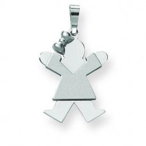 Small Girl with Bow On Left Engraveable Charm in 14k White Gold