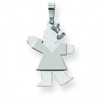 Small Girl with Bow On Right Engraveable Charm in 14k White Gold