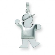Puffed Boy with Hat On Left Engraveable Charm in 14k White Gold