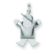 Puffed Boy with Hat On Right Engraveable Charm in 14k White Gold