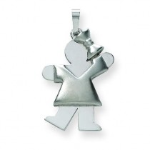 Puffed Girl with Bow On Right Engraveable Charm in 14k White Gold