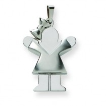Puffed Girl with Bow On Left Engraveable Charm in 14k White Gold