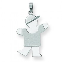 Medium Boy with Hat On Left Engraveable Charm in 14k White Gold