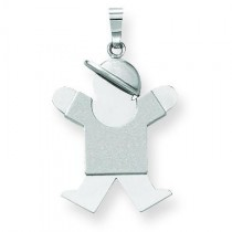 Medium Boy with Hat On Right Engraveable Charm in 14k White Gold