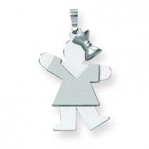 Medium Girl with Bow On Right Engraveable Charm in 14k White Gold