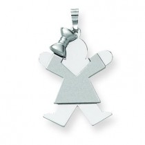 Medium Girl with Bow On Left Engraveable Charm in 14k White Gold