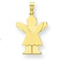 Satin Engraveable Girl with Ruffled Skirt Charm in 14k Yellow Gold