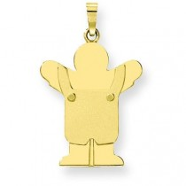 Solid Satin Engraveable Boy with Overalls Charm in 14k Yellow Gold