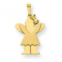 Solid Engraveable Girl with Bow On Right Charm in 14k Yellow Gold
