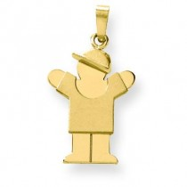 Solid Engraveable Boy with Hat On Right Charm in 14k Yellow Gold