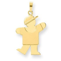 Solid Engraveable Boy with Hat On Left Charm in 14k Yellow Gold