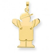 Solid Engraveable Boy In Overalls with Hat On Left Charm in 14k Yellow Gold