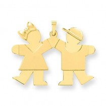 Solid Engraveable Girl On Left Boy On Right Charm in 14k Yellow Gold