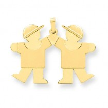 Solid Engraveable Double Boys Charm in 14k Yellow Gold