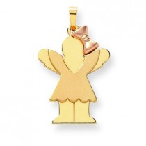 Diamond Cut Large Girl with Bow On Right Engraveable Charm in 14k Two-tone Gold