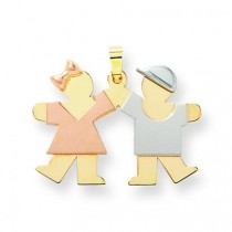 Small Girl On Left Boy On Right Engraveable Charm in 14k Tri-color Gold