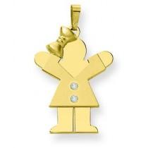 Diamond Kid Pendant in 14k Yellow Gold