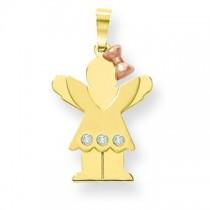 Diamond Kid Pendant in 14k Two-tone Gold