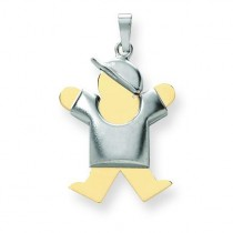 Diamond Cut Puffed Boy with Hat On Right Engraveable Charm in 14k Two-tone Gold