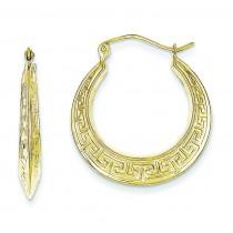 Hollow Greek Key Earrings in 10k Yellow Gold