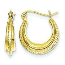 Fancy Small Hoop Earrings in 10k Yellow Gold