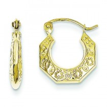 Hollow Classic Earrings in 10k Yellow Gold