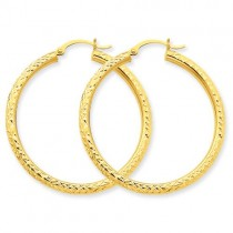 Diamond Cut Round Hoop Earrings in 10k Yellow Gold